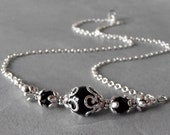 Black Pearl Necklace Beaded Bridesmaid Jewelry Black Wedding Accessories Mother of the Bride Necklace Bridesmaid Gift Black and Silver