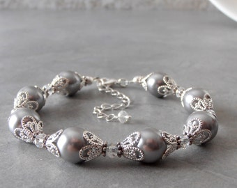Bracelets for Bridesmaids, Gray Pearl Bracelet in Silver Filigree, Grey Bridal Jewelry Sets, Beaded Wedding Jewelry, Handmade Jewellery
