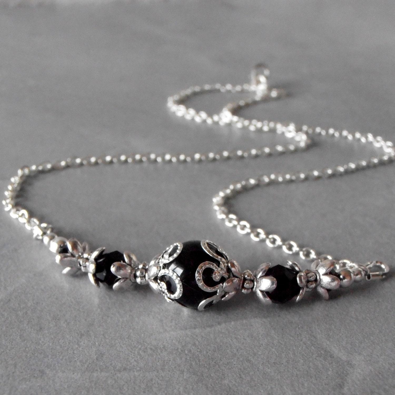 black pearl necklace beaded bridesmaid jewelry black wedding. Black Bedroom Furniture Sets. Home Design Ideas