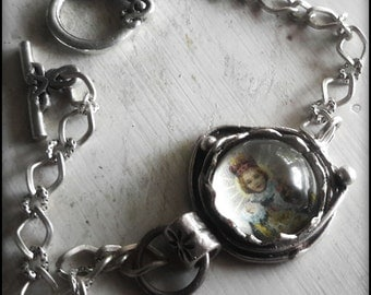 Bracelet Infant of Prague artisan sterling silver plated