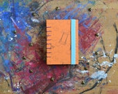 Night Circus Travel Sketchbook /  A7 Hand Bound Coptic Book /orange light blue journal