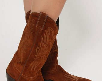 Vintage 80s Suede Cowboy Boots JUSTIN Boots Size 6.5 Brown Leather Boots Western Boots With LEAF Detail