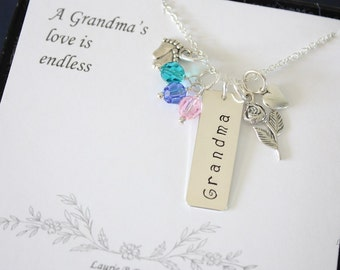 Grandma Necklace Personalized, Mother Gift, Grandchild Brag Sterling Silver Necklace, Monogram Necklace, Mothers Card, Mothers Day, Rose