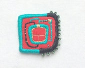 Textile Brooch - Hundertwasser Window, hand embroidered wearable art, unique jewellery gift