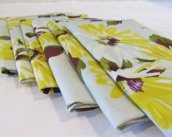 Cloth Napkins Yellow Flowered Set of 6