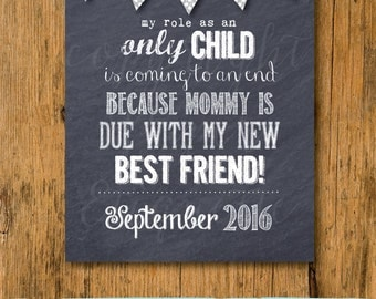 Customized Pregnancy Announcement Chalkboard Sign Printable - Mommy Is Due With My New Best Friend Pregnancy Announcement Reveal - New Baby