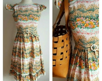 Vintage Floral Cotton Sundress, XS