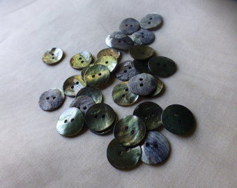 30 Golden Green Mother of Pearl Buttons for Knitting, Jewelry, Garments, Crafts