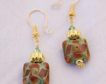 Handmade CHRISTMAS PINWHEELS Dangle Earrings OOAK 24K Vermeil, 14K g.f., Lampwork beads