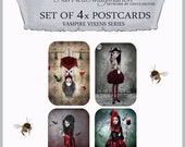 Postcard Set x 4 - Vampire Vixens - Vampire Art Postcards