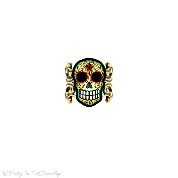 Day of the Dead Filigree Sugar Skull Ring in an Antiqued Brass Finish - Adjustable Band