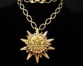 Goddess necklace nouveau rhinestone face with Sun pendant Gold statement jewelry