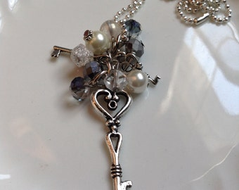 Key to the Kingdom Long Beaded Cluster Necklace