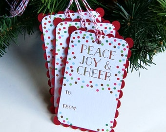 Gold Foil Peace Joy Holiday Gift Tags  . Christmas Tags or Package Labels (Qty. 6)