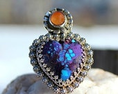 Purple Mojave Turquoise and Carnelian Milagro Ring