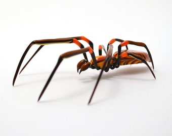 Fiery Orb Weaver Spider - lampworked lifelike glass arachnid spider figurine made by Glass Artist Wesley Fleming