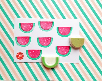 watermelon stamp. fruits hand carved rubber stamps. diy birthday scrapbooking gift wrapping. summer crafts for kids. set of 2