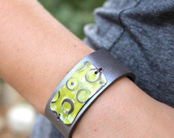 Mod Hip Retro Sterling Silver And Leather Cuff Bracelet