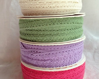 SALE 25% OFF - Scalloped Lace Trim - 10mm - 3 metre length - Natural / Pink / Sage Green / Lilac - Cotton