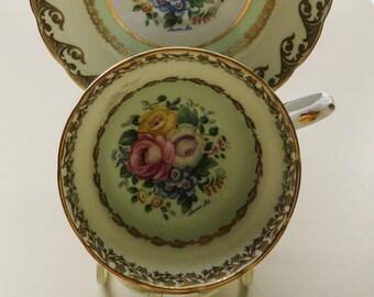 Vintage Green Gilt China  - Cup Saucer, Floral China, Decorative China, Grosvenor China, Laura lee