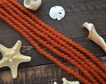 "Lava Orange, 6mm Round Cultured Glass Beads, 34 beads, 8"" strand, Cultured Sea Glass, Jewelry Making Supplies"