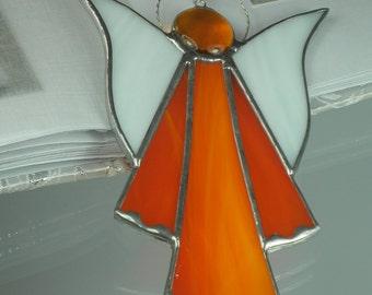 Orange Stained glass Guardian angel Suncatcher Window ornament & Christmas decoration