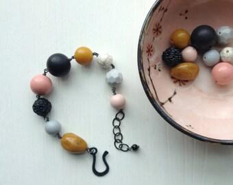bungalow bracelet - vintage lucite, pastels, mustard yellow bracelet
