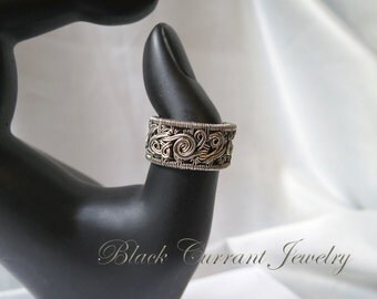 Size 9 US Sterling Silver Woven Ring - Dark Silver, Heady Wirewrapping, Band Ring - ON SALE