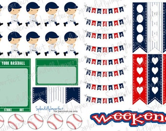 New York Baseball Planner Stickers (Blue and White)