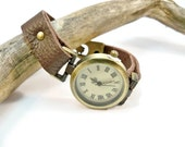 Antique Bronze and Leather Watch,  Women's Watch, Brown Leather, Watch Bracelet, Gift for Her, Wrist Watch