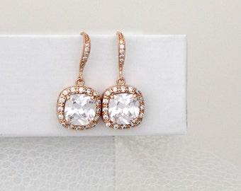 Rose Gold earrings, Cushion cut earrings, Bridal earrings, Cushion cut crystal earrings, Wedding jewelry, Bridesmaid earrings, Square cut