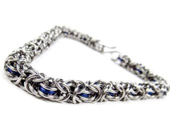 Chainmaille Bracelet - Thin Blue Byzantine