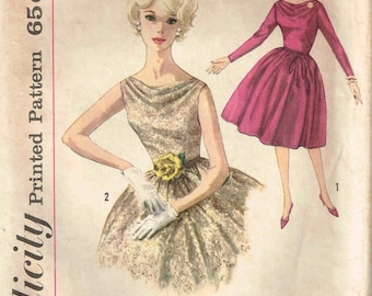 Cowl Neckline Dress Gathered Skirt Vintage 1960s Bouffant Party Dress Simplicity 4168 Sewing Pattern Size 12 Bust 32