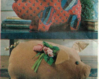 Stuffed Pig Duck Chicken Roster Plush Toy Simplicity 6148 Sewing Pattern Barnyard Animals Country Decor Decorations