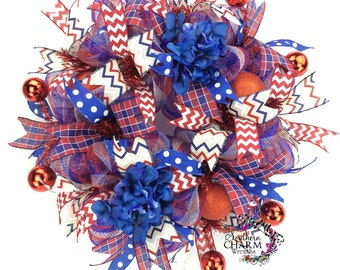 Deco Mesh 4th of July Wreath, Patriotic Wreath, Red White and Blue Wreath for Door, Patriotic Hydrangea Wreath