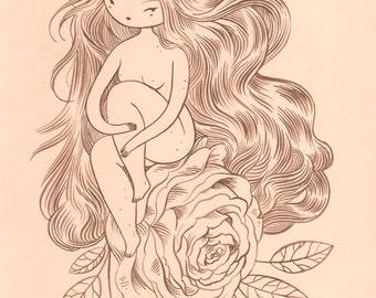 Sitting Pretty - original 11x17in Fine Art Delicate Ink Drawing - walnut ink