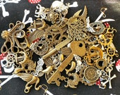 Metal Charms, 3 1/2 oz assortment, steampunk jewelry supply, wings, keys, clock faces, gears, octopus, anchors, many more, diecast metal