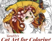 Cat Art Coloring Pages by TaraFly, Twelve 8x10 Individual Sheets to Color