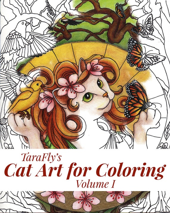 Cat Art Coloring Pages by TaraFly, Twelve Individual Sheets to Color
