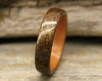 Bentwood Ring - Figure Walnut Wooden Ring Lined With Madrone- Handcrafted Wood Wedding Ring - Custom Made