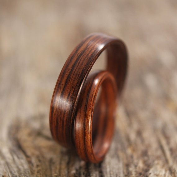 Bentwood Ring Pair - Kingwood Wooden Ring Set - Handcrafted Wood Wedding Rings - Custom Made