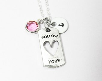 Follow Your Heart Necklace - Hollow Heart Pendant, Personalized Initial Name Crystal Necklace, Swarovski birthstone