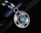 Opal Necklace, Ethiopian Opal, Rainbow Moonstone, Oxidized Sterling Silver - Fireheart by CircesHouse on Etsy