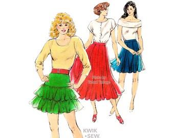 1980s Womens Skirt Pattern, Kwik Sew 1706, Mini Skirt, Full Circle Skirt, Ruffle Skirt Vintage Sewing Patterns, Knits Only, Sizes XS S M L