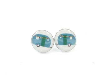 "Camper Trailer or RV Earrings.  Post or Stud Earrings.  SMALL and Lightweight 1/2"" or 13 mm Round."