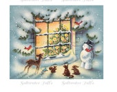 Snowman and Animal Friends looking through Christmas Window Image Digital Download vintage transfer card holiday xmas  christmas card