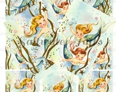ATC Cute Mermaids and Starfish Digital Downloads ocean seagreen bubbles mermaid image trading card size 2.5 x 3.5 collage sheet