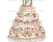 Wedding Cake image Digital Download vintage card transfer 1950s bride groom roses red bridal invitation graphic invitation reception love
