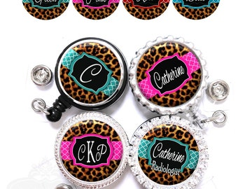 Leopard Print and Quatrefoil Nurse Retractable ID Badge Reel - Personalized Lanyard Holder with Name, Monogram, Occupation Title (A255)