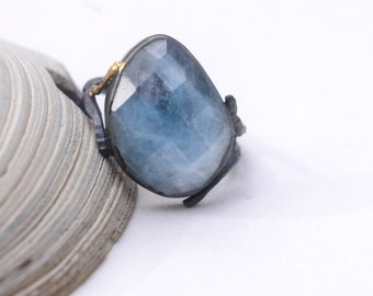 "Aquamarine ""root system"" ring…natural aquamarine, sterling silver & 14k gold - size 8"